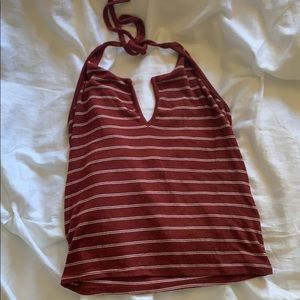red and white stripped cropped halter top